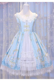 Light Blue Chess Story Elves Secret Key Printing Cardigan Sweet Lolita JSK Jumper Dress