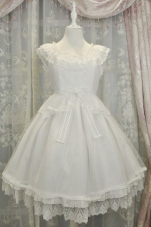 White Fairy Tale Mysterise Chess Story Sweet Lolita JSK Dress
