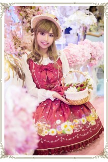 Red Daisy and Dandelion Chess Story Sweet Lolita Suspender JSK Dress