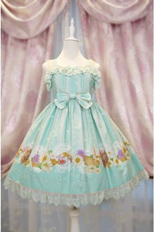 Mint Green Daisy and Dandelion Chess Story Sweet Lolita Suspender JSK Dress