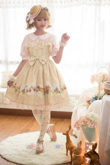 Apricot Daisy and Dandelion Chess Story Sweet Lolita Suspender JSK Dress