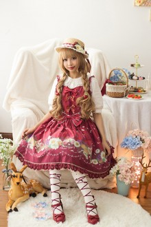 Red Daisy and Dandelion Chess Story Sweet Lolita Jumper JSK Dress
