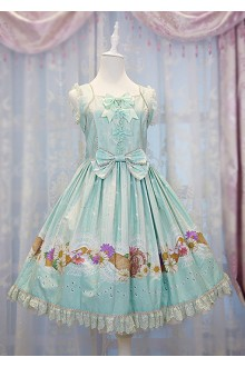 Mint Green Daisy and Dandelion Chess Story Sweet Lolita Jumper JSK Dress