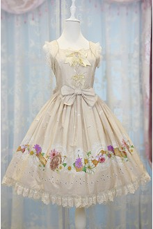 Apricot  Daisy and Dandelion Chess Story Sweet Lolita Jumper JSK Dress