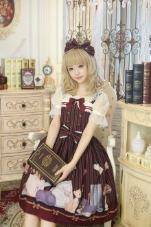 Wine Honey Honey Cat Library Chiffon Sweet Lolita JSK Dress