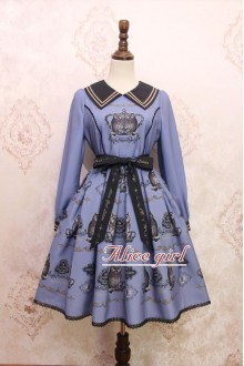 Blue Owl Printing Bow Knot Long Sleeves Sweet Lolita OP Dress