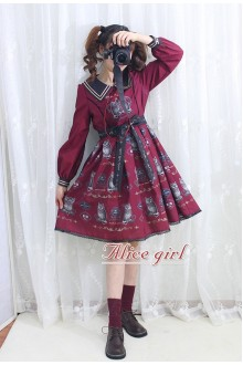 Wine Owl Printing Bow Knot Long Sleeves Sweet Lolita OP Dress