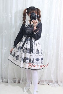 White and Black Owl Printing Bow Knot Long Sleeves Sweet Lolita OP Dress Version 2