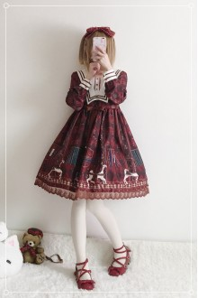 Royal Trojan Printing Chiffon Sweet Lolita OP Dress 2 Colors