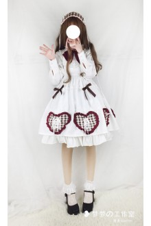 White Lovely Doll Long Sleeves Sweet Lolita OP Dress