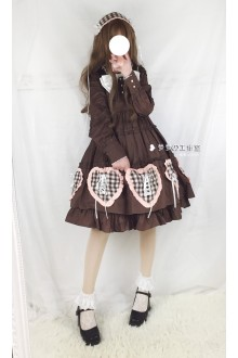 Coffee Lovely Doll Long Sleeves Sweet Lolita OP Dress