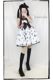 White Holy Lantern Cross Sweet Lolita JSK Dress