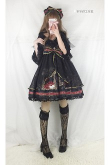 Black Gorgeous Vintage Cardigan Lace Arkner's Dream Sweet Lolita OP Dress