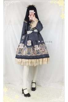 Vintage Mermaid Printing Flouncing Sweet Lolita OP Dress