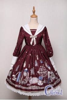 Wine Citanul Astrologer's Mysterious Sanctum Sweet Lolita OP Dress