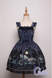 Dark Blue Citanul Kitty's Illuson Sweet Lolita Strap Dress