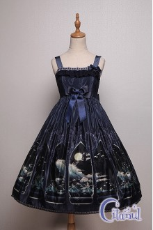 Dark Blue Citanul Kitty's Illuson Sweet Lolita JSK Dress