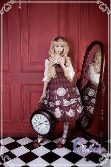 Wine Citanul A Mad Tea-Party High Waist Sweet Lolita JSK Dress Version 2