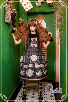 Black Citanul A Mad Tea-Party High Waist Sweet Lolita JSK Dress Version 2