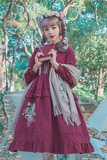 Wine Surface Spell Bouquet Embroidery Long Sleeves Sweet Lolita OP Dress