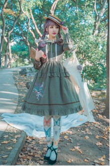 Green Surface Spell Bouquet Embroidery Long Sleeves Sweet Lolita OP Dress