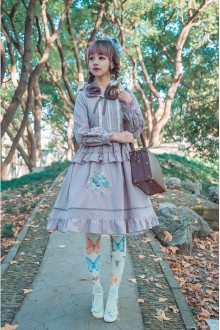 Purple Surface Spell Bouquet Embroidery Long Sleeves Sweet Lolita OP Dress