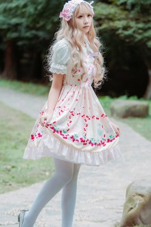 White Strawberry Printing Chiffon Slim Sweet Lolita JSK Dress