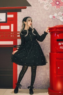 Black Flouncing Long Sleeves Sweet Lolita OP Dress
