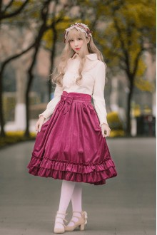 Sweet Flouncing Velvet Lolita Skirt 4 Colors