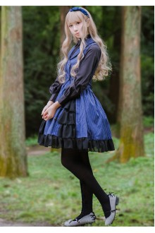 Sweet Stripe Flouncing Chiffon Lolita Skirt