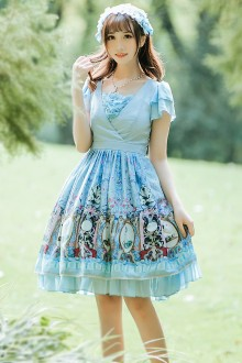 Light Blue Art Museum Printing Chiffon V Collar Short Sleeves Sweet Lolita Dress