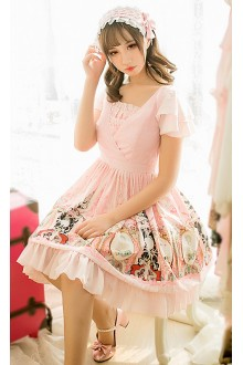 Pink Art Museum Printing Chiffon V Collar Short Sleeves Sweet Lolita Dress