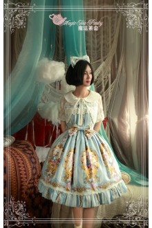 Light Blue Magic Tea Party Alice Printing Flouncing Bow Knot Sweet Lolita JSK Dress
