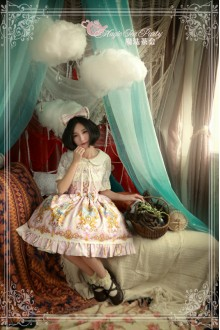 Pink Magic Tea Party Alice Printing Flouncing Bow Knot Sweet Lolita JSK Dress