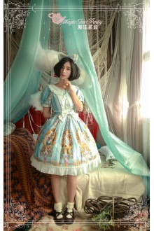 Light Blue Magic Tea Party Alice Printing Flouncing Bow Knot Sweet Lolita OP Dress