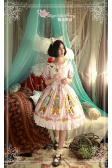 Pink Magic Tea Party Alice Printing Flouncing Bow Knot Sweet Lolita OP Dress