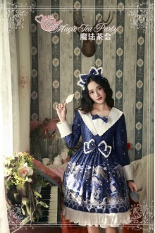 Dark Blue Magic Tea Party Star City Printing Long Sleeves Sweet Lolita OP Dress