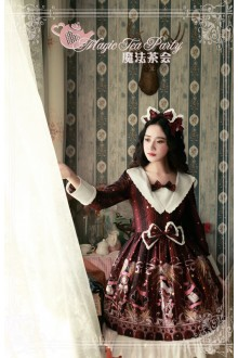 Wine Magic Tea Party Star City Printing Long Sleeves Sweet Lolita OP Dress