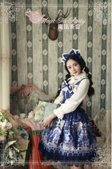 Dark Blue Magic Tea Party Star City Printing Long Sleeves Sweet Lolita JSK Dress