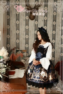 Dark Blue Magic Tea Party Goddess Original Printing Chiffon Sweet Lolita JSK Dress
