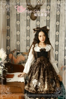 Dark Brown Magic Tea Party Goddess Original Printing Chiffon Sweet Lolita JSK Dress