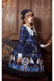 Dark Blue Mousita Abbey Angel Long Sleeves Sweet Lolita OP Dress