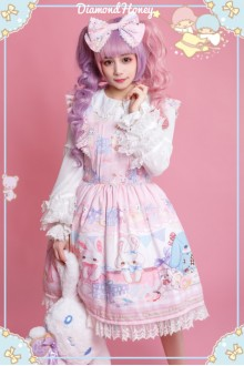 Pink Cute Doll Big Rabbit Gift Box Toy Printing Sweet Lolita Dress