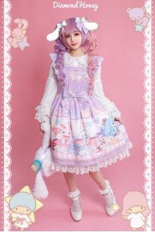 Purple Cute Doll Big Rabbit Gift Box Toy Printing Sweet Lolita Dress