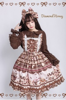 Chocolate Fairy Tale Style Gingerbread House Printing Sweet Lolita Dress