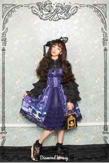 Dark Blue Vintage Cake Gorgeous Chiffon Printing Gothic Lolita Dress
