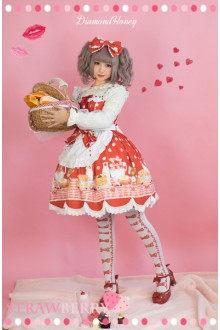Red Breakfast Muffins Cute And Delicious Polka Dot Floral Printing Sweet Lolita Dress