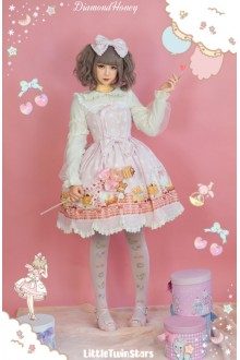 Pink Breakfast Muffins Cute And Delicious Polka Dot Floral Printing Sweet Lolita Dress