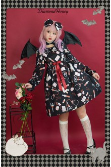 Black Diamond Honey Chiffon Doll Hospital Printing Sweet Lolita OP Dress