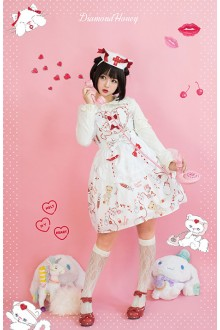 White Diamond Honey Chiffon Doll Hospital Printing Sweet Lolita OP Dress